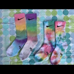 Youth small tie dye Nike crew socks- homemade!